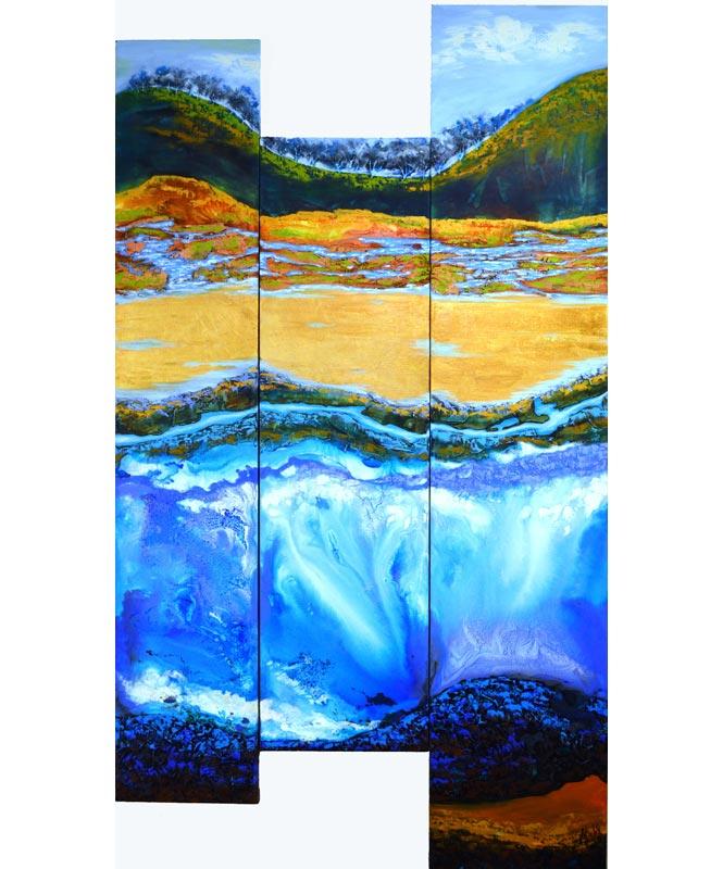 Astrid Dahl One Day In Spring Triptych 90Cm X 170Cm