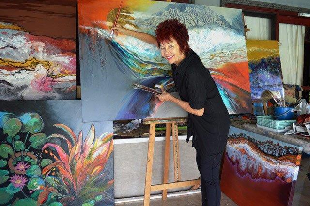 Astrid Dahl Painting In Studio