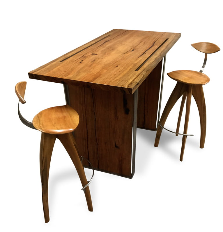 Dry Reef Marri Timber Bar Table 1600Lx780Wx1050H With Crab Bar Stools