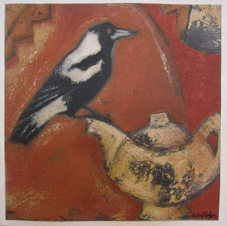 Helen Forbes Magpie And Teapot 30x30cm Hfor83