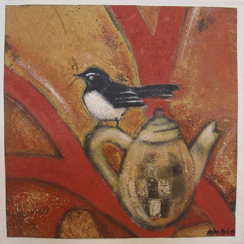 Helen Forbes   Wagtail on Coffeepot Fine Art
