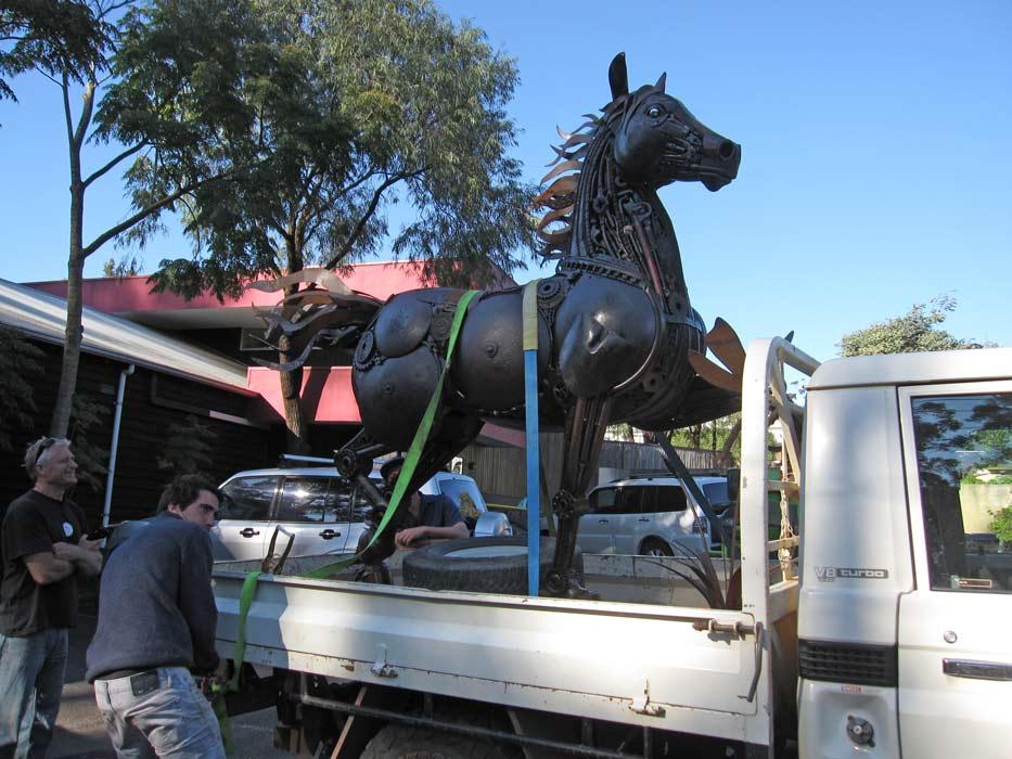 Jordan Sprigg Red Thunder Horse Sculpture Arrival 1