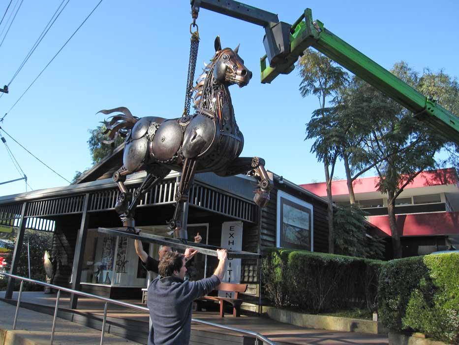 Jordan Sprigg Red Thunder Horse Sculpture Arrival 5