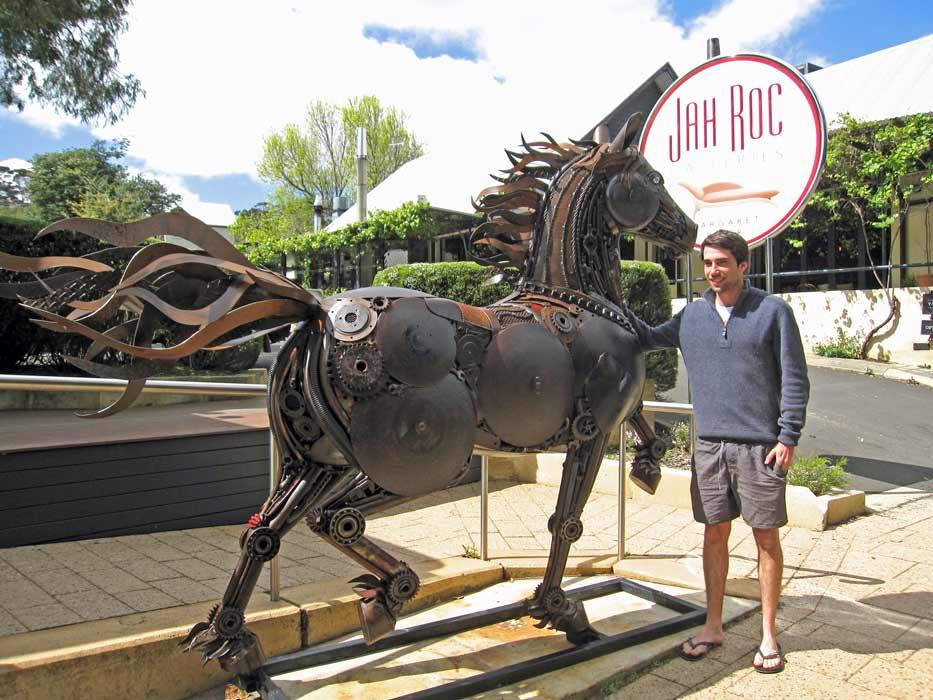 Jordan Sprigg With Red Thunder Horse Sculpture 4