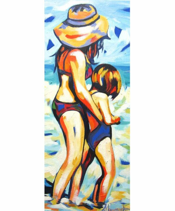 Shannon Hamilton Mother And Child In Surf 36X85Cm