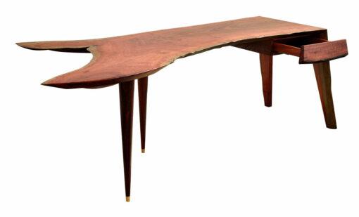 In Motion Desk Jarrah Crotch Wood Single Slab 2300Lx990Wx740H Drawer Open