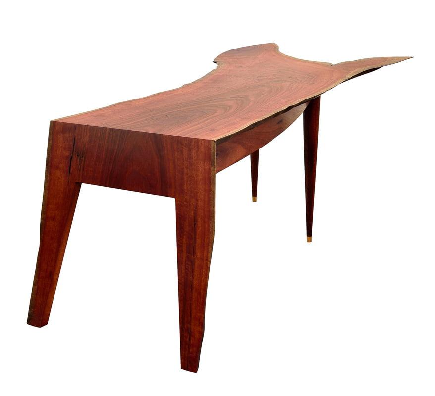 In Motion Desk Jarrah Crotch Wood Single Slab 2300Lx990Wx740H End