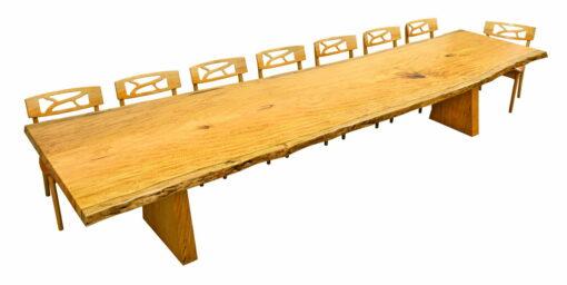 Nara Marri Single Slab Dining Table With Filigree Chairs