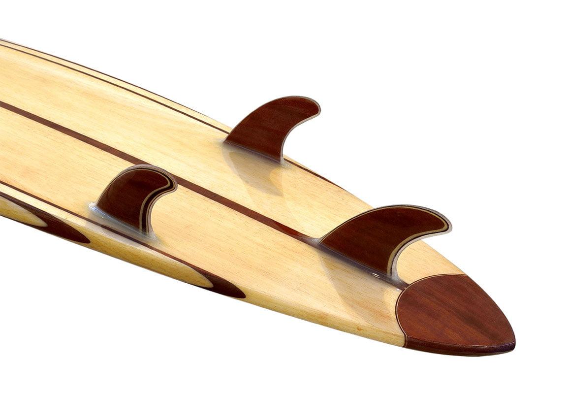 10 Gun Balsa Wooden Surfboard Fin Detail
