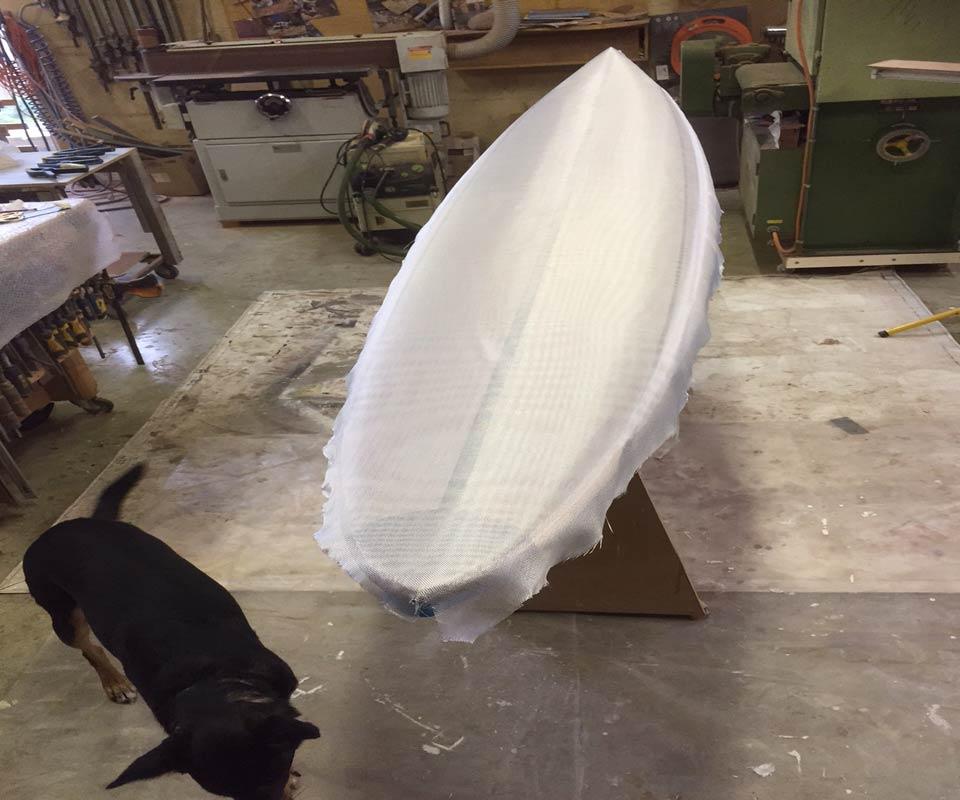 10 Gun Banks Wooden Surfboard Glassing 1