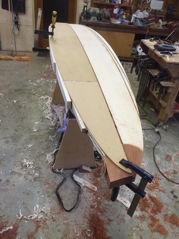 10 Gun Banks Wooden Surfboard In The Making 3