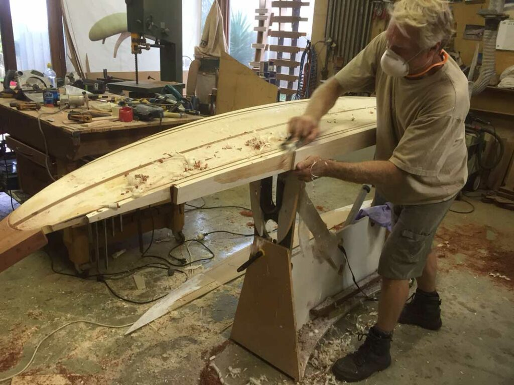 10 Gun Banks Wooden Surfboard   In The Making Fine Art