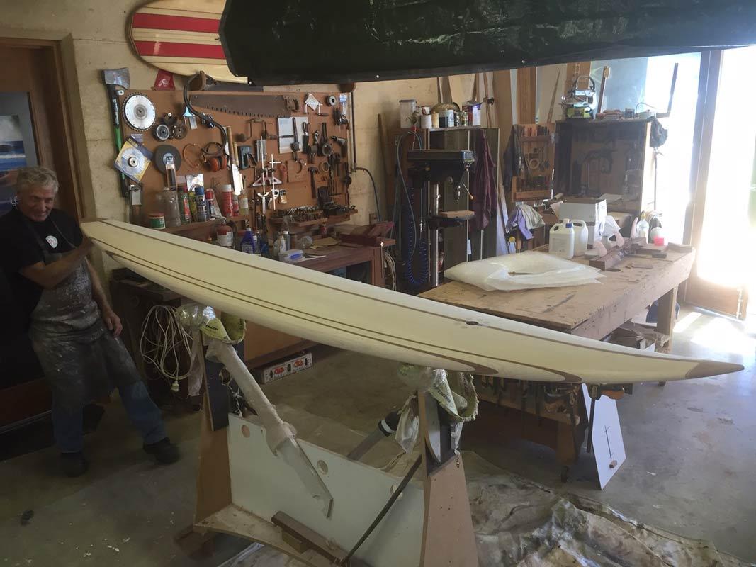 10 Gun Banks Wooden Surfboard In The Making 7