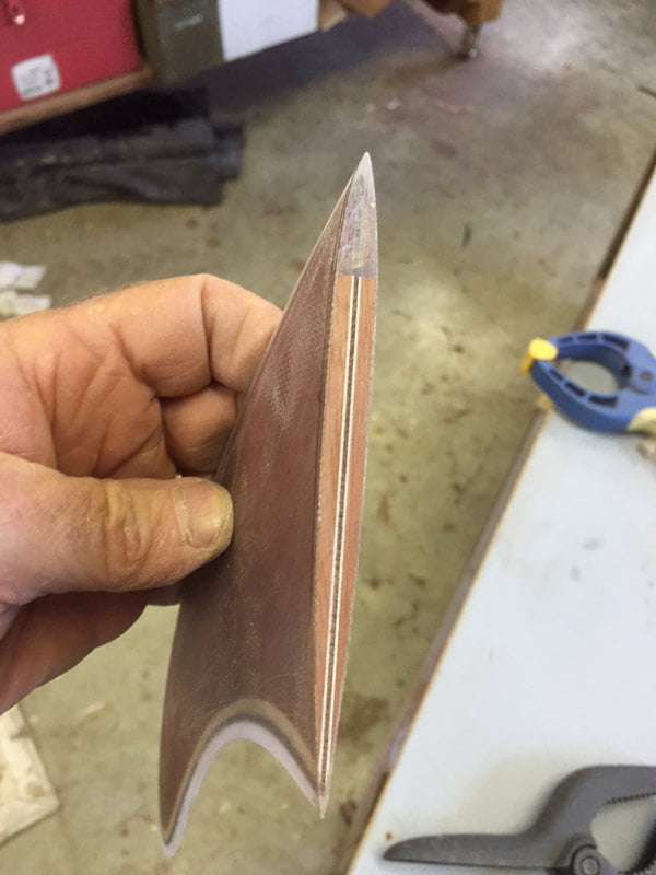 10 Gun Banks Wooden Surfboard In The Making Fins 2