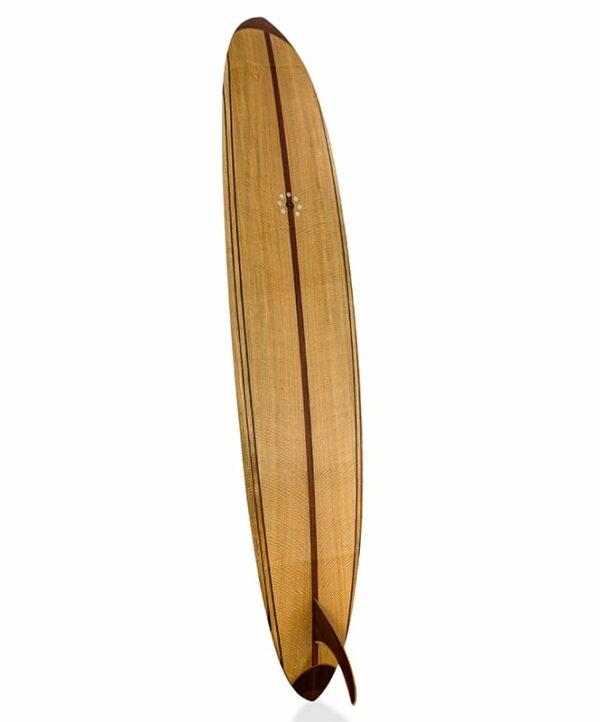 9 Gun Malibu Wooden Surfboard Back Angle