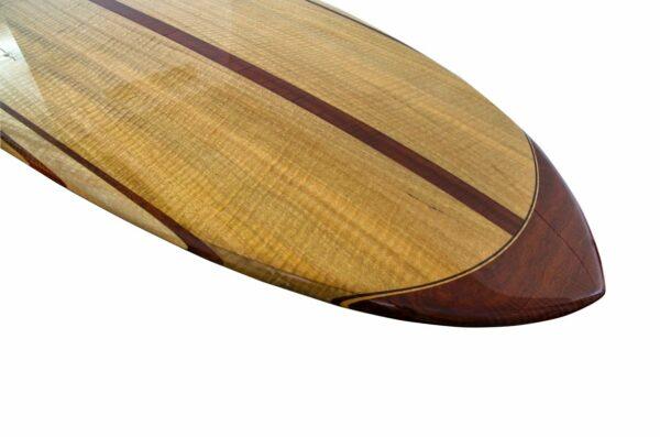 9 Gun Malibu Wooden Surfboard Nose Detail