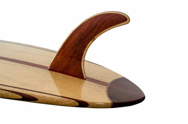 9 Gun Malibu Wooden Surfboard Single Fin Detail