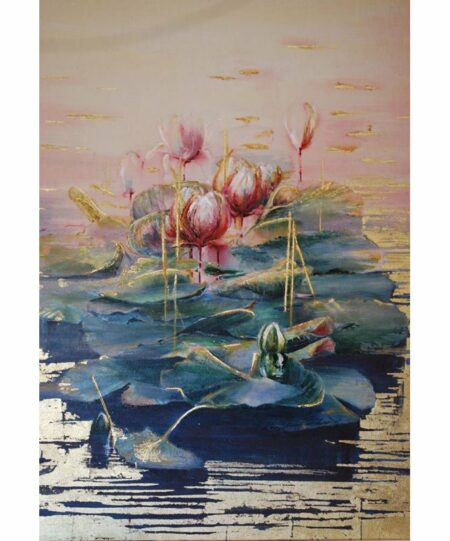 Jenny Sanderson Water Lilies Mixed Media Painting