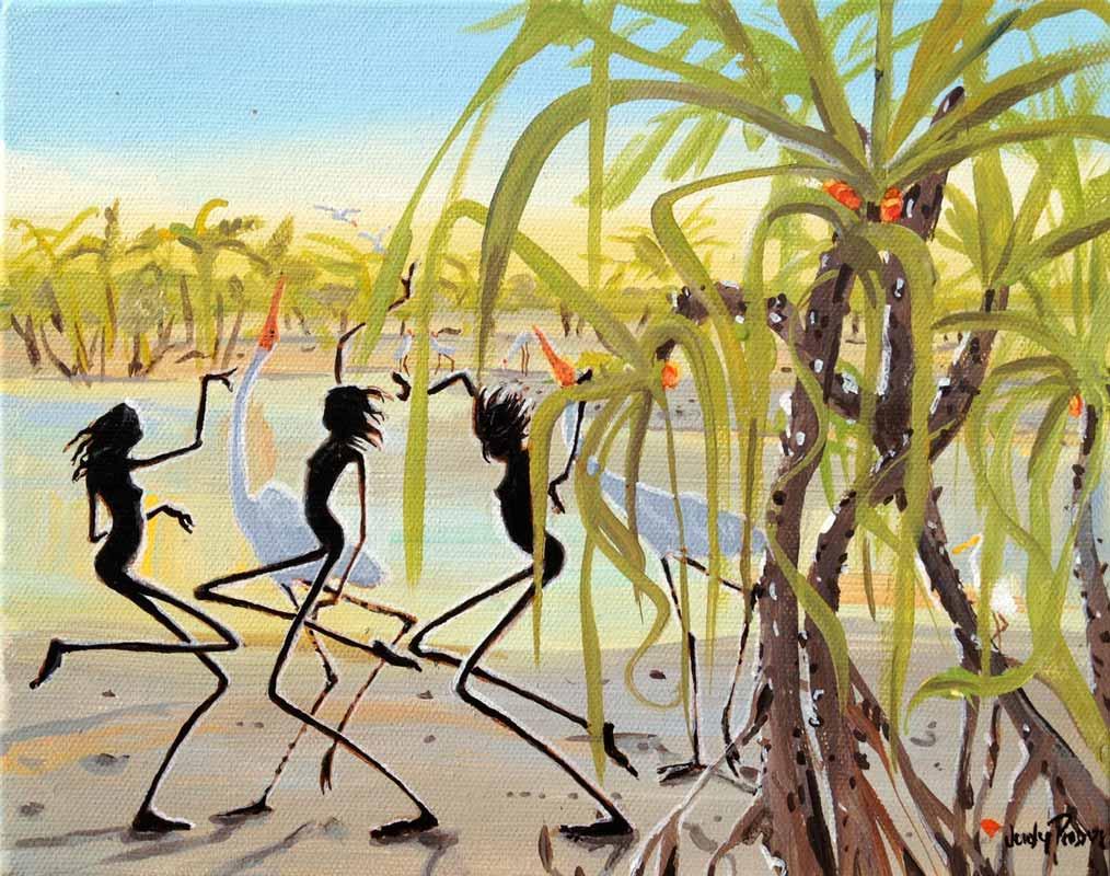 Judy Prosser Fishing At Pandanus Acrylic Painting