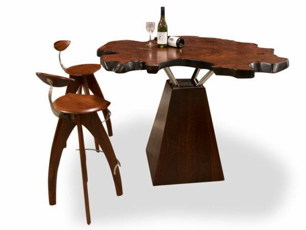 Unique Jarrah Burl Bar Table With Stools