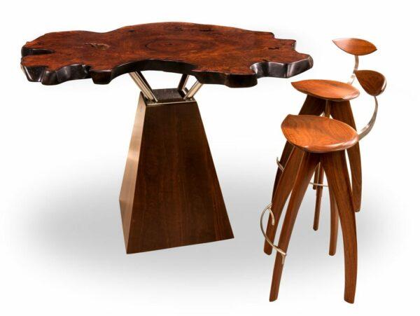 Unique Jarrrah Burl Bar Table Plus Stools