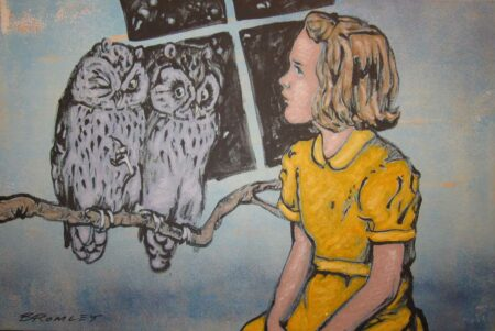 David Bromley Girl With Owls Painting Dbr233
