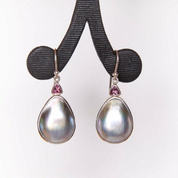 Jane Liddon Pink Tourmaline Mabe Pearl Drop Earrings