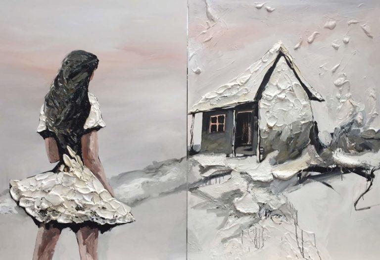 Palla Jeroff White Desert Girl Diptych Painting