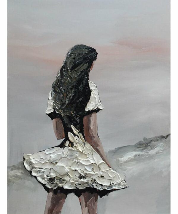 Palla Jeroff White Desert Girl Left Panel Painting