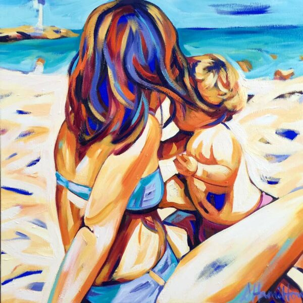 Shannon Hamilton Mother And Child At City Beach Painting