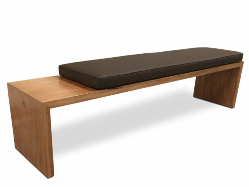 Tan Cushioned Bench Seat