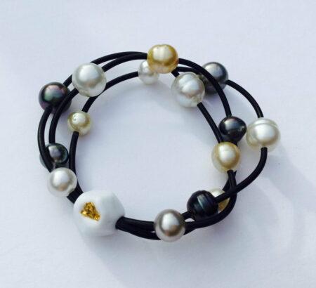 Evelyn Henschke Pearl Bracelet With Gold Nugget Ehe46