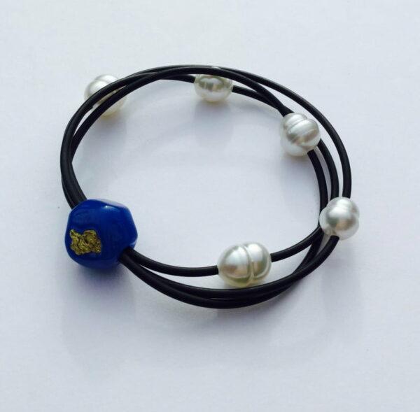 Evelyn Henschke Pearl Bracelet With Gold Nugget Ehe47
