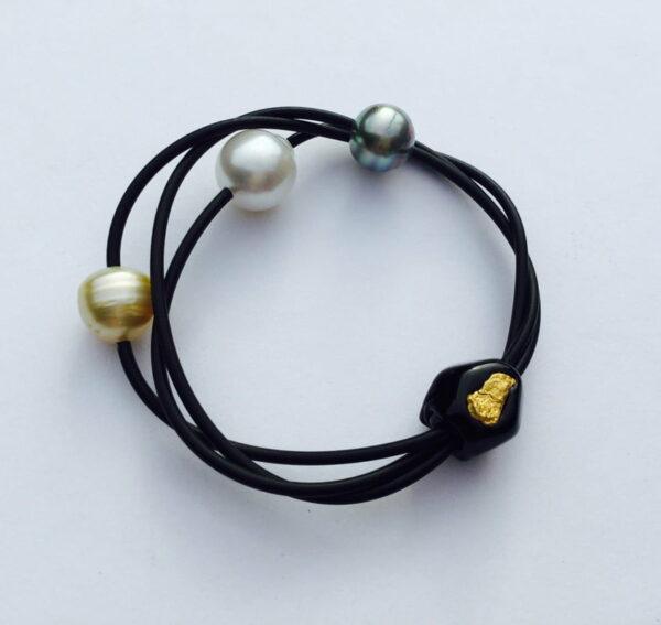 Evelyn Henschke Pearl Bracelet With Gold Nugget Ehe48