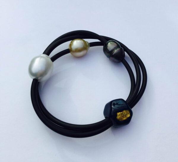 Evelyn Henschke Pearl Bracelet With Gold Nugget Ehe49