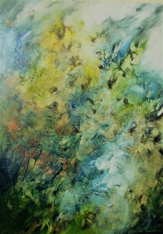 Susan Angwin Meditation In Motion In Greens Painting