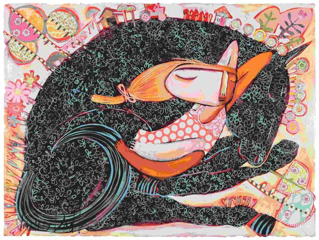 Jda162 Janine Daddo Black Horse Dreaming Painting