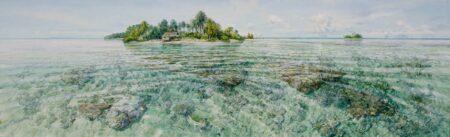 Larry Mitchel Tiny Island Bismark Sea Painting