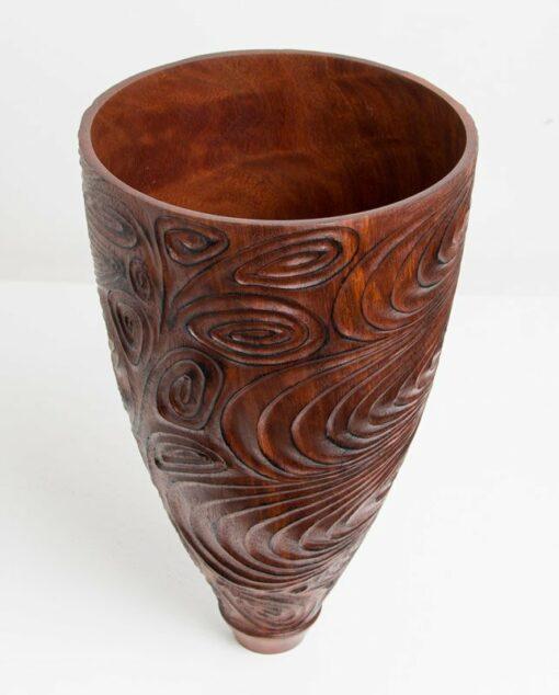 Neil Turner Jarrah Carved Vase 1