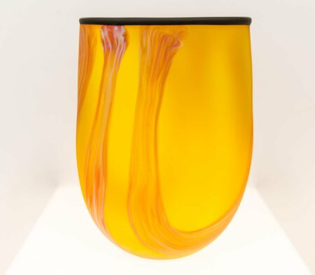Orange Swirl Vase Grant Donaldson Gordon Studio Glass Art