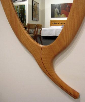 The-Leaf-Wall-Mirror Blackbutt Timber detail.