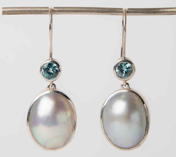 Jl04 Jane Liddon Earings Silver Topaz Mabe Pearl 480 Tourmaline Mabe Pearl Earingsjpg