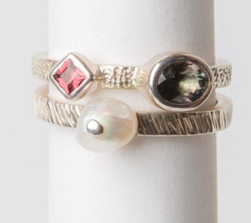 Jl48 Jane Liddon Double Ring 540 Tourmaline Pearl Double Ring