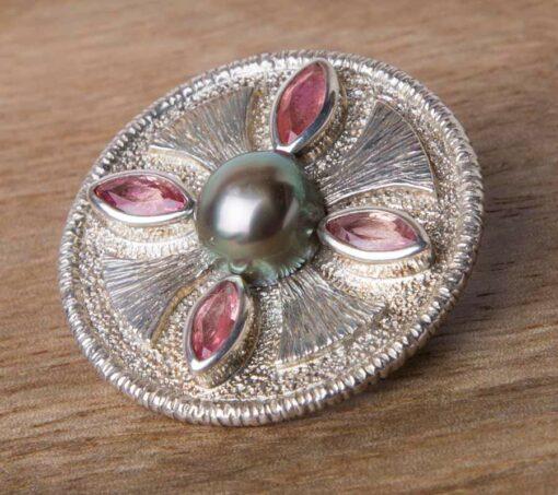 Jane Liddon Brooch Pink Tourmaline Pearl Brooch