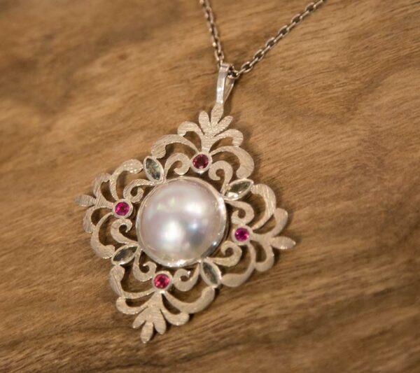 Jane Liddon Jewellery Pendant595 1 Tourmaline Mabe Pearl Pendant