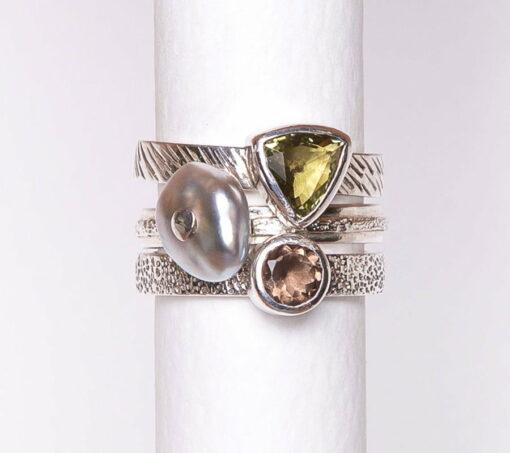Jane Liddon Keshi Pearl Gemstone Triple Ring