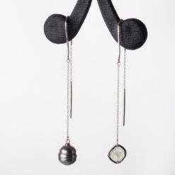 Liddon Pearls  Asymmetric Pearl Earings Fine Art