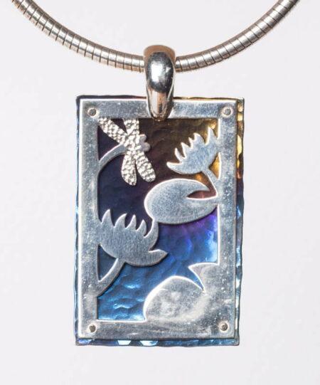 Amilia Adams Silver Waterlily Silhouette Pendant