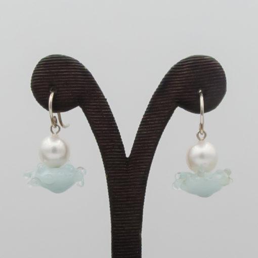 evelyn henschke drop earrings pearl blue white bead