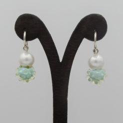 evelyn henschke drop earrings pearl blue yellow bead